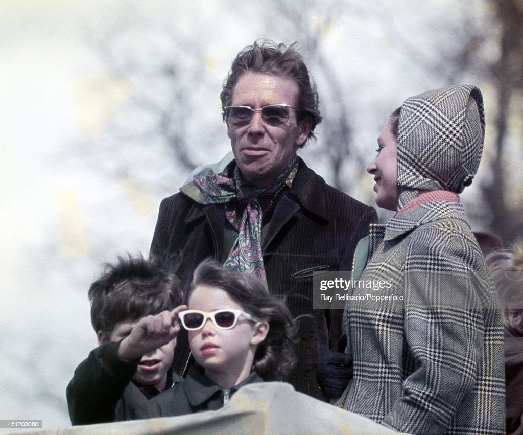 Princess Margaret (right) with her family, children Lord Linley (left) and Lady Sarah Armstrong-Jones and husband Lord Snowdon (behind), during the Badminton Horse Trials in Gloucestershire on 18th April 1970.