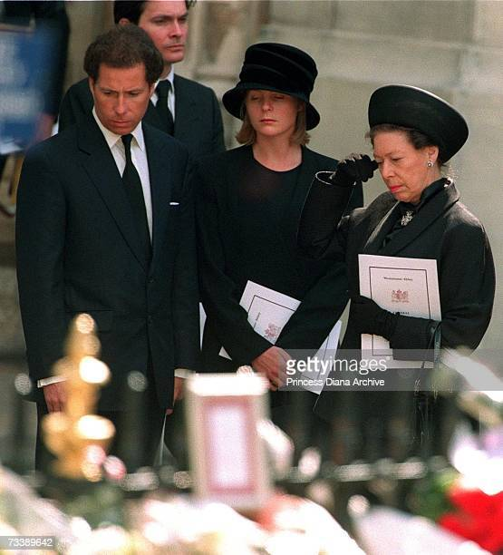 Princess Margaret with her son Lord Linley and his wife Lady Serena Linley leaving Westminster Abbey after the funeral service for Diana Princess of...