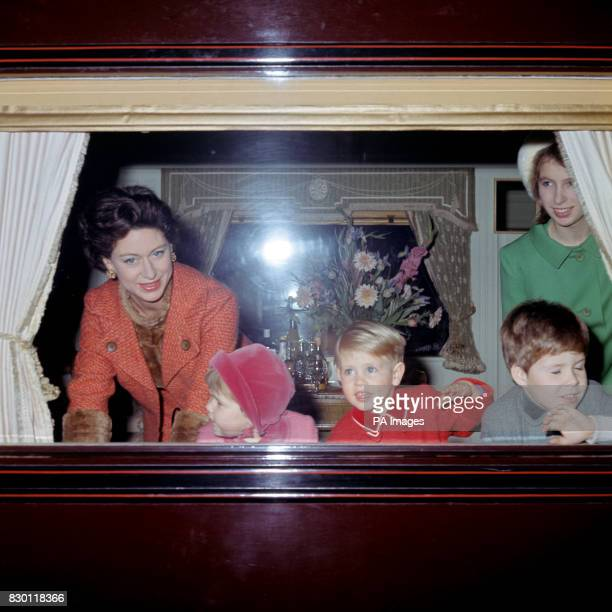 Princess Margaret with Lady Sarah ArmstrongJones Prince Edward Viscount Linley and Princess Anne as they leave Liverpool Street Station London for...