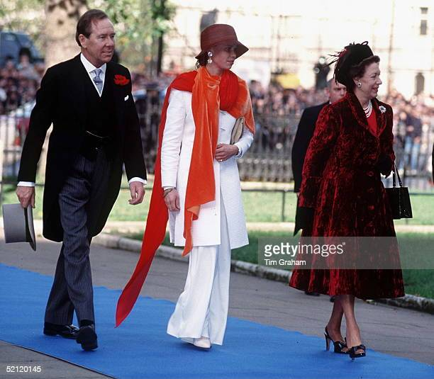 Princess Margaret With Lord Snowdon And Their Daughter Lady Sarah Armstrongjones Attending The Wedding Of Their Son Lord Linley
