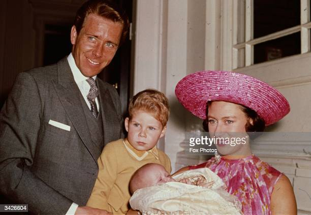 Princess Margaret with Lord Snowdon and Viscount Linley at Kensington Palace shortly after the birth of her daughter, Lady Sarah Armstrong-Jones.