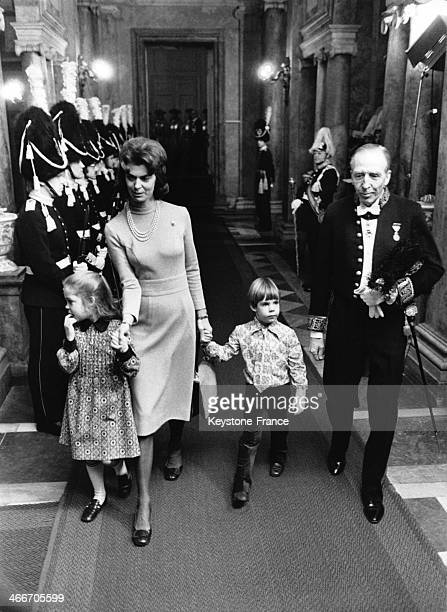 Princess Margaretha and her two children, Sibylla and Charles Ambler, circa 1970 in Sweden.