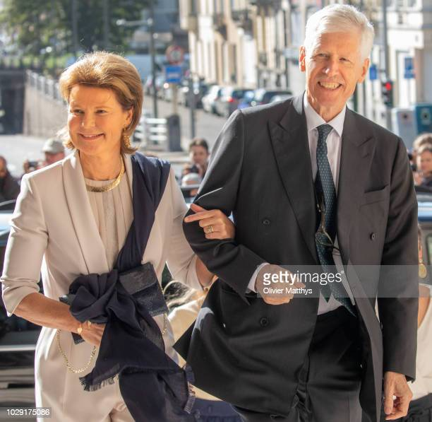 Princess Margaretha of Liechtenstein and Prince Nikolaus of Luxembourg arrive prior to attend a mass to remember the 25th anniversary of the death of...