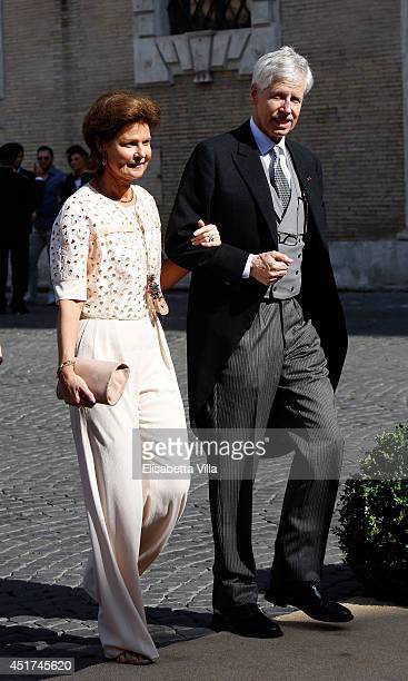 Princess Margaretha of Liechtenstein and Prince Nikolaus of Liechtenstein attend the wedding of Prince Amedeo Of Belgium and Elisabetta Maria Rosboch...