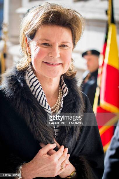 Princess Margaretha of Liechtenstein arrives for a special Mass to commemorate the deceased members of the Belgian Royal Family at the...