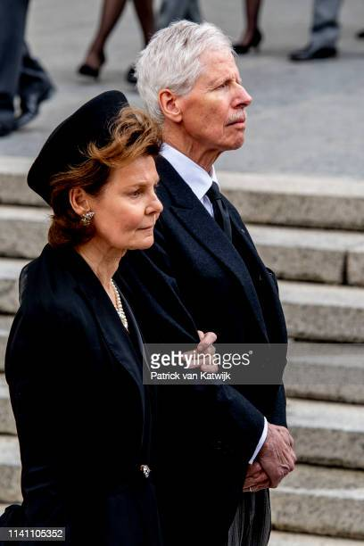 Princess Margaretha of Luxembourg and Prince Nikolaus of Liechtenstein attend the funeral of Grand Duke Jean of Luxembourg on May 04, 2019 in...