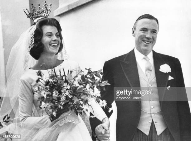 Princess Margaretha of Sweden and Englishman John Ambler getting married on June 30, 1964 in Stockholm, Sweden.