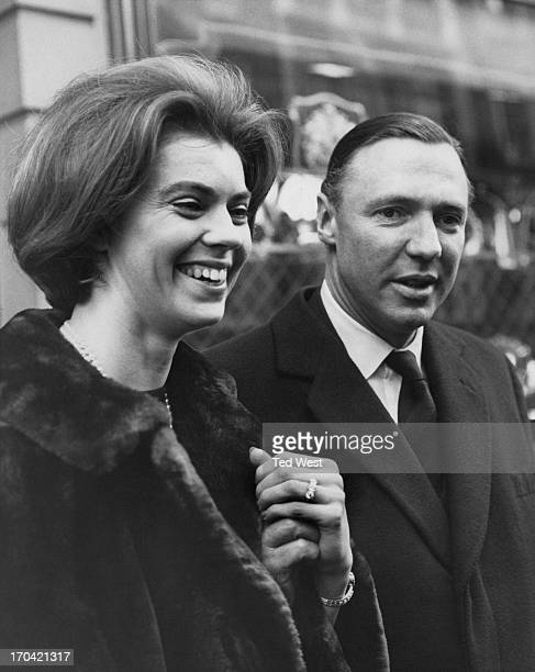 Princess Margaretha of Sweden and fiance John Ambler show their engagement ring to photographers outside the jewellers in Conduit Street, London, 9th...