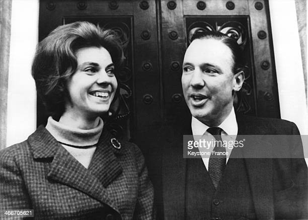 Princess Margaretha of Sweden and her fiance John Ambler in front of his house on April 05, 1964 in London, United Kingdom.