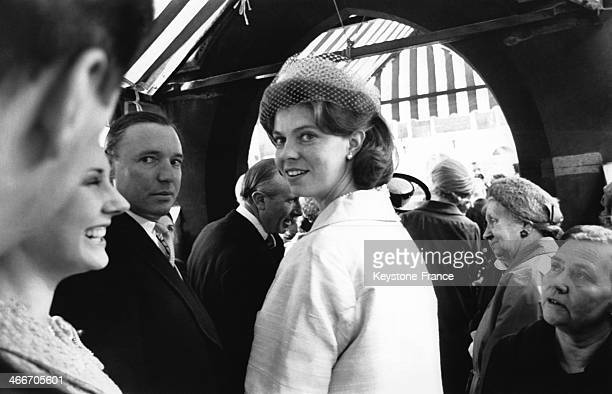 Princess Margaretha of Sweden and her husband John Ambler after the wedding of the Queen's Cousin Elisabeth Abel Smith and Peter Wise in London on...