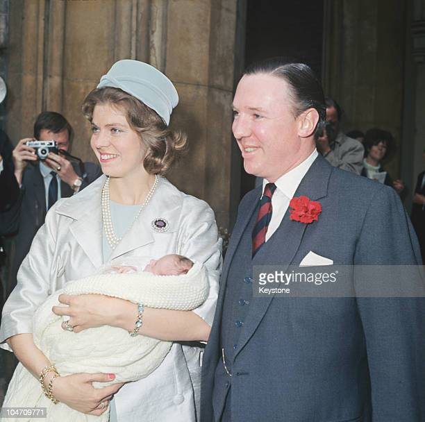 Princess Margaretha of Sweden and her husband John Ambler arrive at St Paul's church in Knightsbridge London for the christening of their baby...