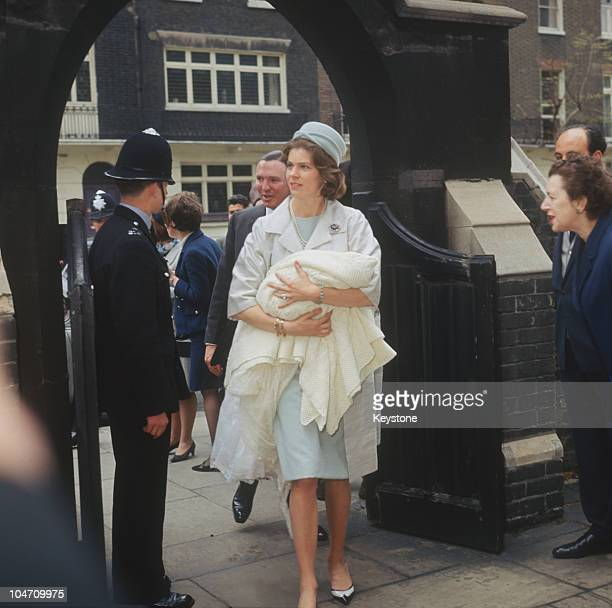 Princess Margaretha of Sweden and her husband John Ambler arrive at St Paul's church in Knightsbridge, London for the christening of their baby...