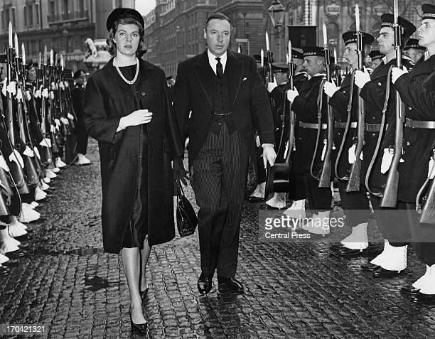 Princess Margaretha of Sweden and her husband John Ambler attending the memorial service at Westminster Abbey for Queen Louise of Sweden, London,...