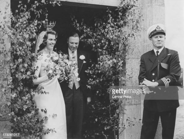 Princess Margaretha of Sweden and John Ambler leave Gardslosa Church after their wedding ceremony, Gardslosa, Oland, Sweden, 30th June 1964.
