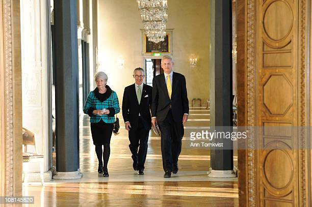 Princess Margaretha of Sweden and Swedish Foreign Minister Carl Bildt attend a banquet at City Hall held to honour the Estonian state visit on...