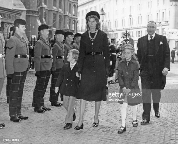 Princess Margaretha of Sweden attends the memorial service for Gustaf VI Adolf of Sweden with her husband John Ambler and their children Charles...