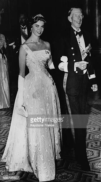 Princess Margaretha of Sweden escorted by Prince Wilhelm arrive at the State Banquet in honour of Queen Wilhelmina and Prince Bernhard of The...