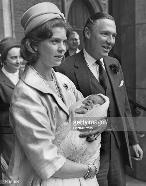 Princess Margaretha of Sweden holding her daughter Sybilla Louise Ambler with her husband John Ambler as they leave St Paul's Church Knightsbridge...