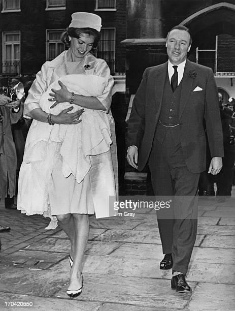 Princess Margaretha of Sweden holding their daughter Sibylla Louise Ambler, with husband John Ambler arriving at St. Paul's Church, Knightsbridge,...