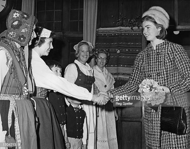 Princess Margaretha of Sweden meets ladies in national costume for the opening of the Swedish Christmas Fair at the Swedish Church Hall in London,...