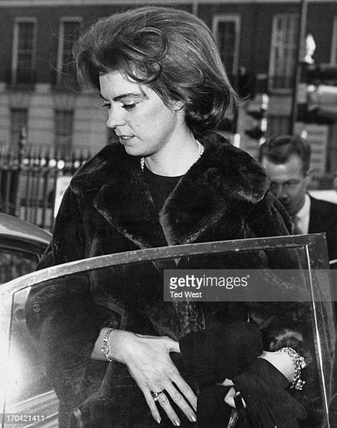 Princess Margaretha of Sweden outside the Swedish Embassy entering her fiance John Ambler's car to go on a shopping expedition in London, 9th March...