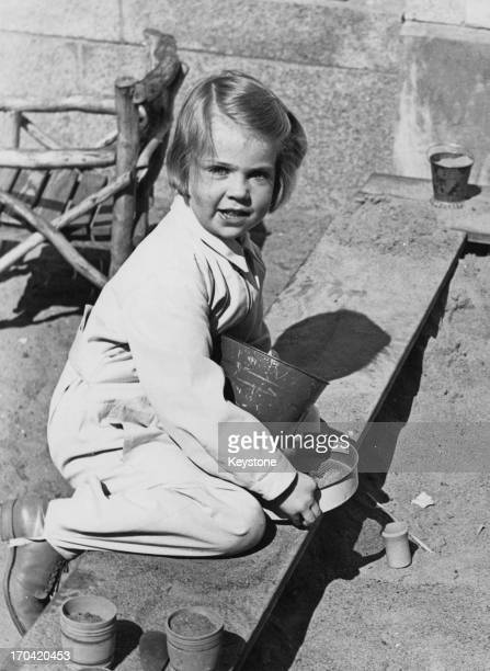 Princess Margaretha of Sweden playing in the sand, Haga Park, Sweden, May 1939.