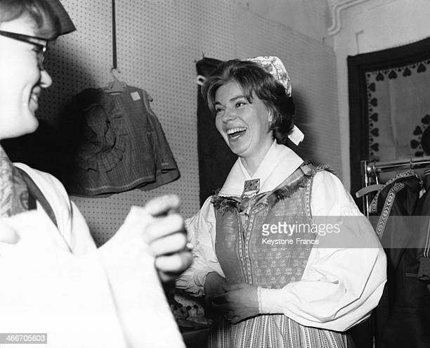 Princess Margaretha of Sweden wears the traditional Swedish costume during the annual Swedish Christmas Fair at the Swedish Church Hall on November...