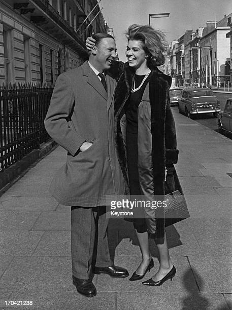 Princess Margaretha of Sweden with her fiance John Ambler outside the Swedish Embassy, London, 9th March 1964. This is the first full day the couple...