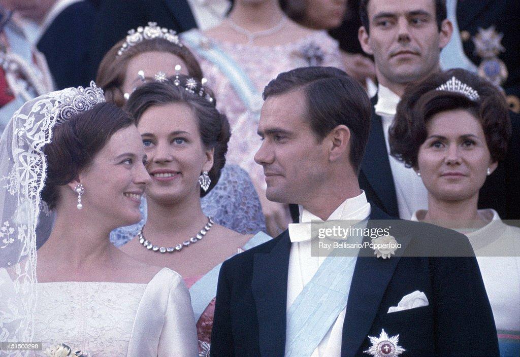 Princess Margarethe of Denmark (foreground, left) with her new husband, Henri de Monpezat, Prince Henrik of Denmark, on their wedding day in Copenhagen on 10th June 1967.