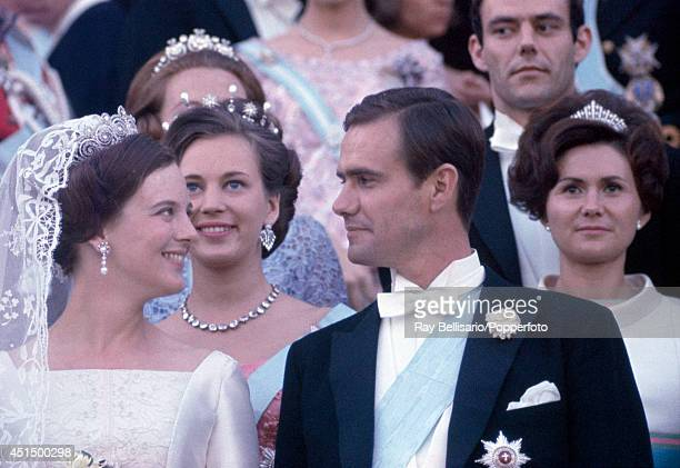 Princess Margarethe of Denmark with her new husband Henri de Monpezat Prince Henrik of Denmark on their wedding day in Copenhagen on 10th June 1967