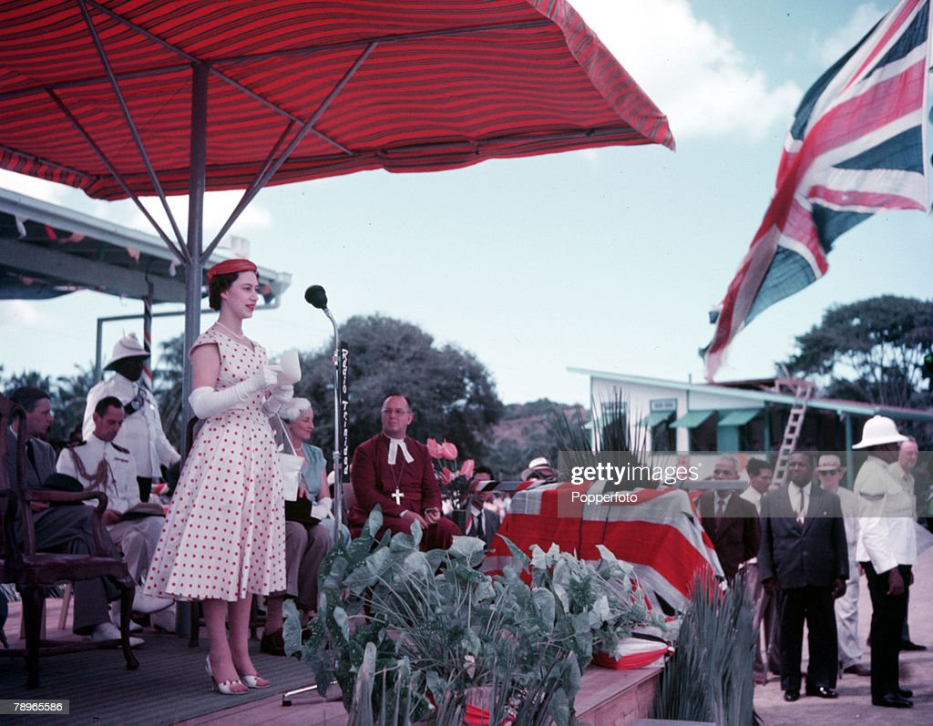 1955. Princess Margaret's Caribbean Tour, Trinidad. Princess Margaret is pictured at Tohago Civic Reception. : News Photo