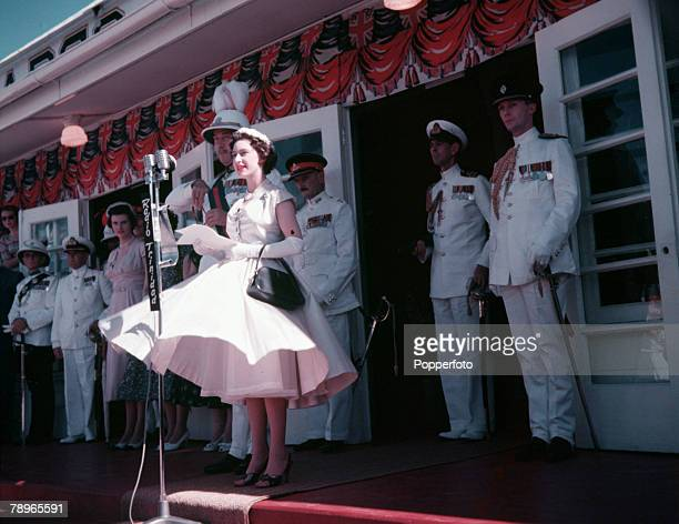 1955 Princess Margaret's Caribbean Tour Trinidad Princess Margaret is pictured replying to the speech of welcome