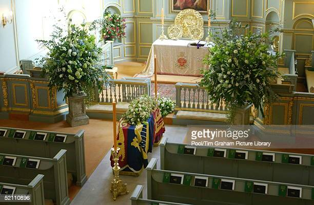 Princess Margaret's Coffin Covered With Her Royal Standard Flag Lies At Rest In The Queen's Chapel At St James's Palace Before The Funeral Of The...