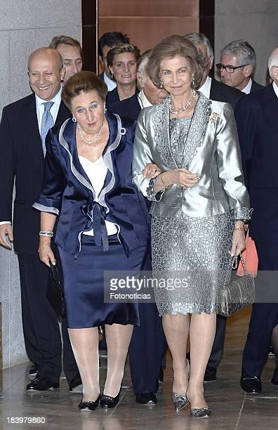 Princess Margarita de Borbon and Queen Sofia of Spain attend an homage to Carlos Zurita at El Prado Museum on October 10 2013 in Madrid Spain