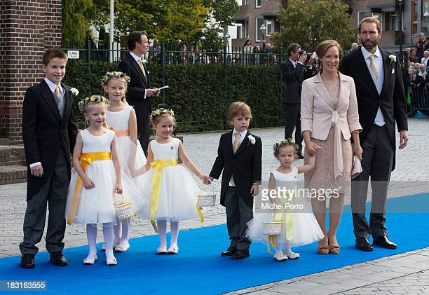 Princess Margarita de Bourbon de Parma and Tjalling ten Cate attend the wedding of Prince Jaime de Bourbon Parme and Viktoria Cservenyak at The...