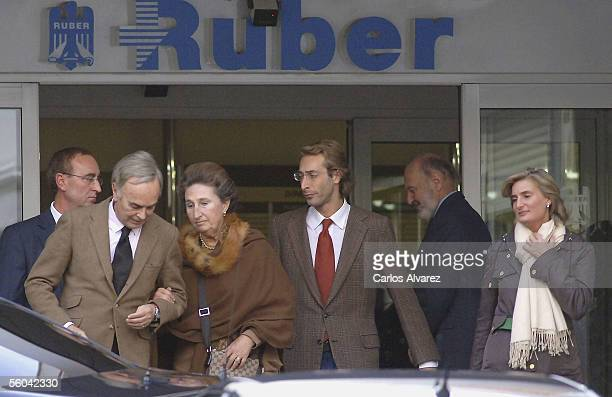 Princess Margarita her husband Alfonso Zurita and her sons Alfonso Zurita and Maria Zurita leave the Ruber Clinic in Madrid after visiting Princess...
