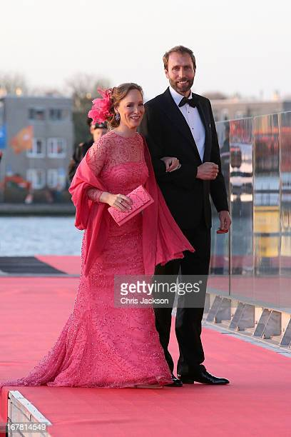 Princess Margarita of BourbonParma and Tjalling Siebe ten Cate arrive at the Muziekbouw following the water pageant after the abdication of Queen...