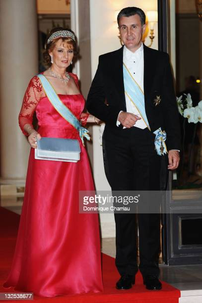 Princess Margarita of Romania and Prince Radu of Romania attend the official dinner and firework celebrations at the Opera Terraces after the...
