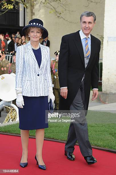 Princess Margarita of Romania and Prince Radu of Romania attend the wedding ceremony of Prince Guillaume Of Luxembourg and Princess Stephanie of...