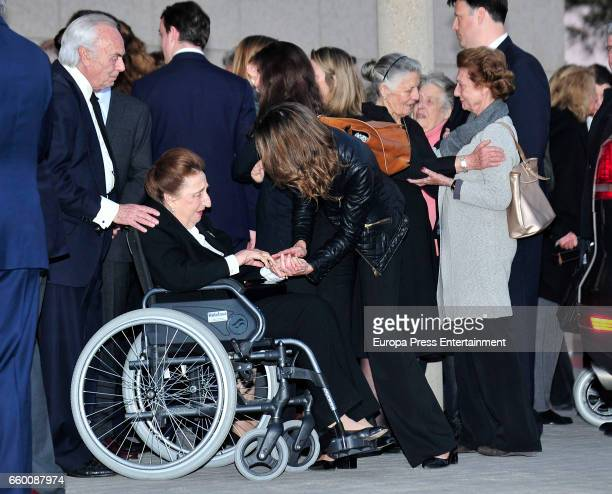 Princess Margarita of Spain and Carlos Zurita attend a funeral chapel for Alicia de Borbon Parma Duchess of Calabria at La Paz morgue on March 28...