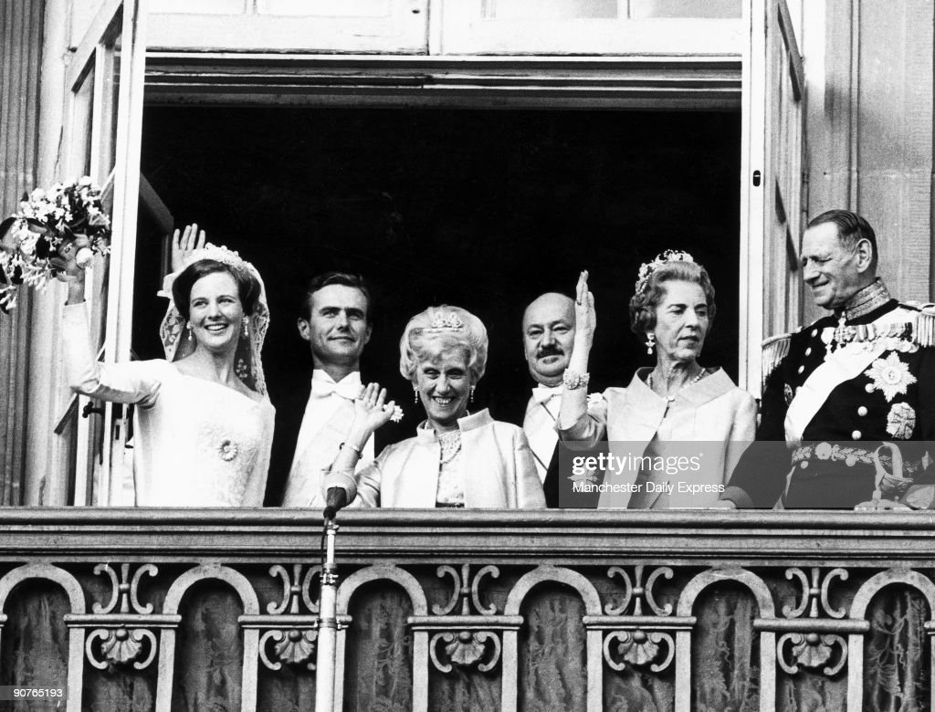 Princess Margrethe, later Queen Margrethe II, weds Prince Henrik in Copenhagen. Prince Henrik was formerly French diplomat Count Henri de Monpezat.