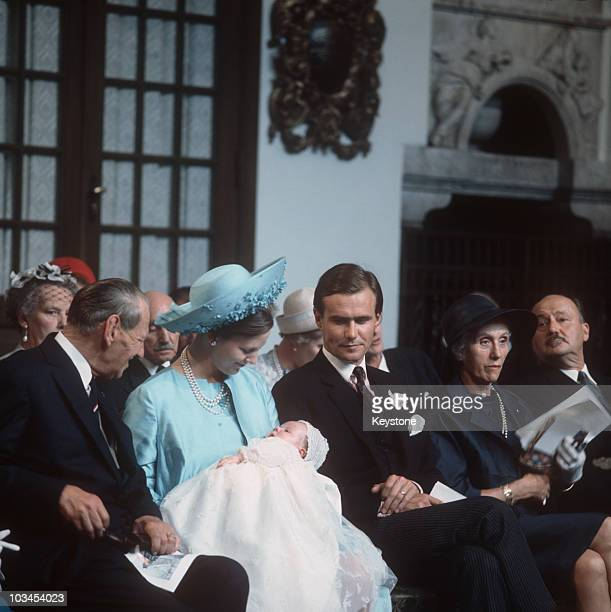 Princess Margrethe of Denmark and Prince Henrik at the christening of their son Prince Frederik in Copenhagen on June 24 1968