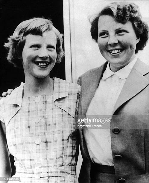 Princess MARGRETHE of Denmark and Princess BEATRIX of Holland. Queen JULIANA and Prince BERNHARD, along with their four daughters, were resting with...