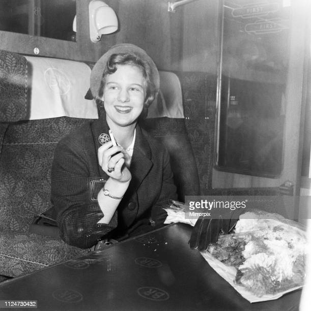 Princess Margrethe of Denmark arrives in London to study at Cambridge 2nd October 1960