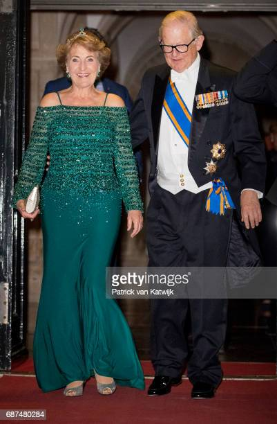 Princess Margriet and her husband Pieter van Vollenhoven of The Netherlands leave after the gala dinner for the Corps Diplomatic at the Royal Palace...