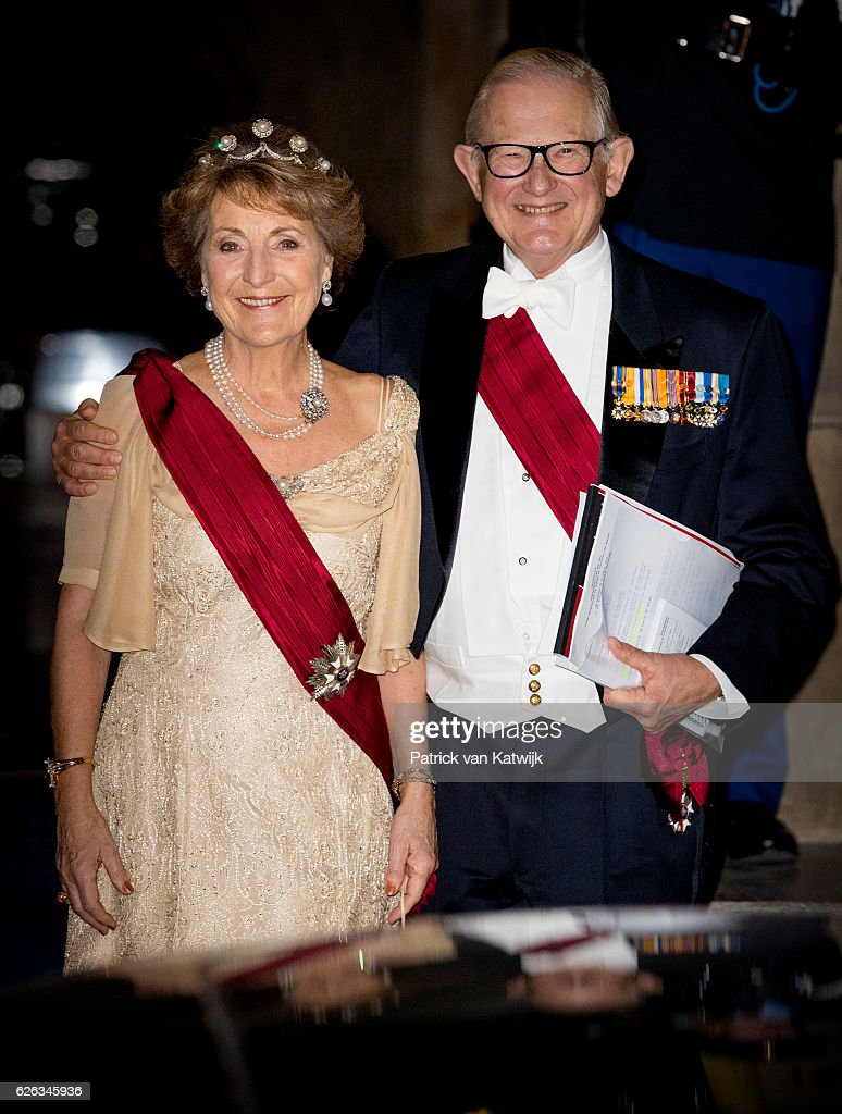 Princess Margriet and her husband Pieter van Vollenhoven of The Netherlands leave the royal palace after the state banquet for the Belgian King and Queen on November 28, 2016 in Amsterdam, Netherlands.