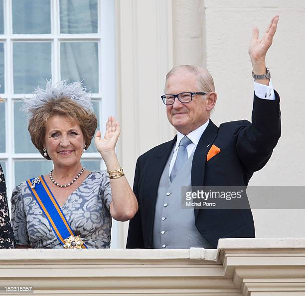 Princess Margriet of the Netherlands and Pieter van Vollenhove wave from the Noordeinde Palace balcony after attending Budget Day announcement on...