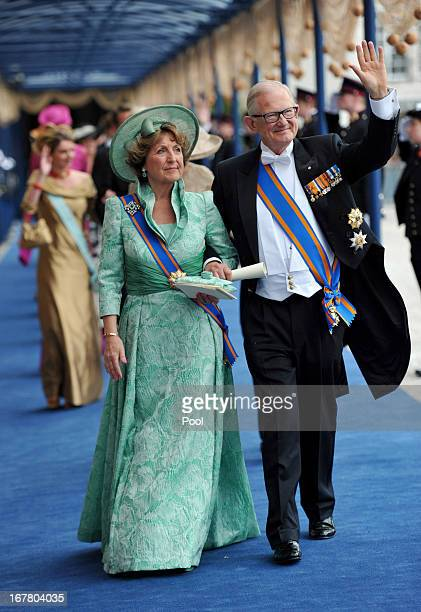 Princess Margriet of the Netherlands and Pieter van Vollenhoven leave following the inauguration ceremony for HM King Willem Alexander of the...