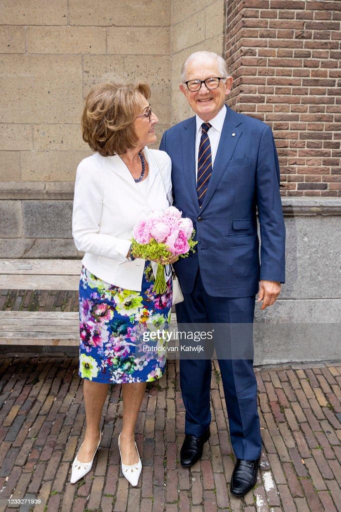Princess Margriet Of The Netherlands And Pieter van Vollenhoven Visit Farewell College In Nijmegen : News Photo