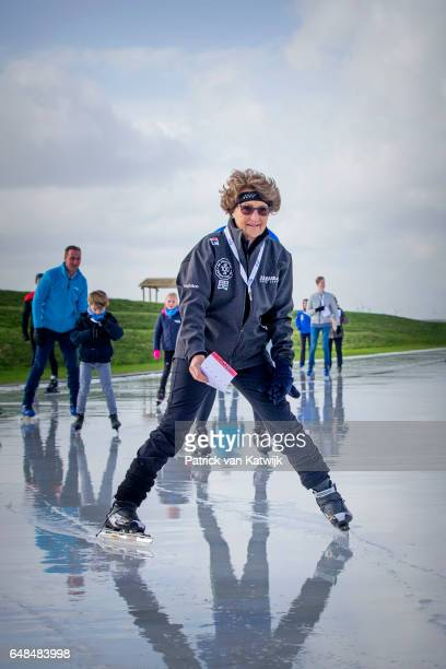 Princess Margriet of The Netherlands at the Hollandse 100 ice skating and cycling fund raising event at Flevonice on March 5, 2017 in Biddinghuizen,...